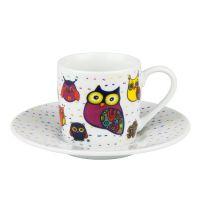 Кофейная пара эспрессо 'Разноцветные животные - совы' Koenitz 11 5 053 1400
