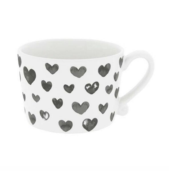 Кружка Bastion Collections White Нearts Watercolor Black RJ/CUP 006 BL