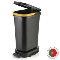 Мусорный бак с педалью BE-ECO 20л Faplana, черный-желтый 772.23361