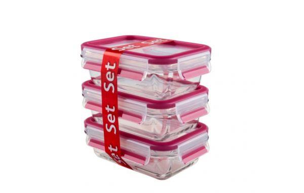 Набор пищевых контейнеров из 3 пищевых контейнеров 0,5л Clip&Close Glass EMSA, красные 3100514170