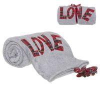 Плед D'casa Love 130x160 см серый 303213