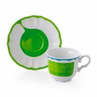 Набор чашек с блюдцами FADE GIOTTO 6 шт цвет белый с зелёным 51099
