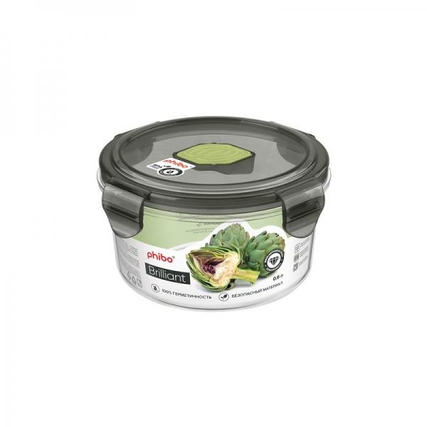 Контейнер для продуктов герметичный с клапаном Brilliant круглый 600 мл BYTPLAST B11796
