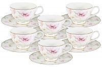 Набор 12 предметов Розовый танец: 6 чашек + 6 блюдец, AL-M1661_12-E9