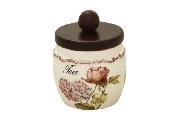 Банка для сыпучих продуктов с деревянной крышкой(чай) Сады Флоренции, LCS010PLT-BO-AL