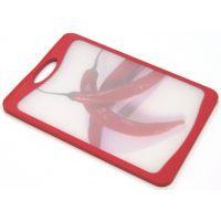 Кухонная доска MICROBAN FLUTTO 37x25 см красная с рисунком «красный перец» FM-RC