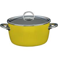 Кастрюля эмалированная низкая, объем 4,8 л, диаметр 22 см, высота 10 см, цвет желтый, со стеклянной крышкой
