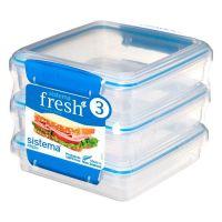Набор контейнеров SISTEMA для сэндвичей 3 шт 450 мл цвет синий 921643
