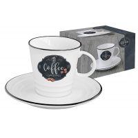 Чашка с блюдцем Кухня в стиле Ретро (кофе) в подарочной упаковке, EL-R1601_KIBC