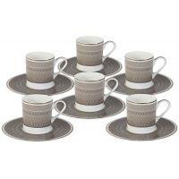 Кофейный набор Мокко: 6 чашек + 6 блюдец, NG-I150905A-C6-AL