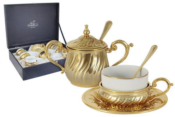 Чайный набор на 6 персон Stradivari с отделкой под золото в подарочной коробке, GA6207500AL