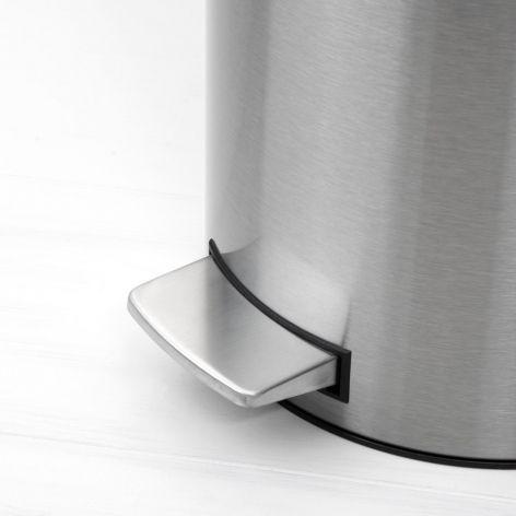 Ведро для мусора Brabantia с педалью 12 л цвет матовый стальной с защитой от отпечатков пальцев 479526
