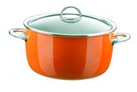 Кастрюля эмалированная высокая, объем 6,1 л, диаметр 26 см, высота 14,5 см, цвет оранжевый, со стеклянной крышкой, серия NEO, KOCHSTAR