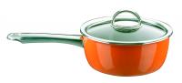 Ковш эмалированный 18 см, 2,0 л, оранжевый, со стеклянной крышкой, серия NEO, KOCHSTAR