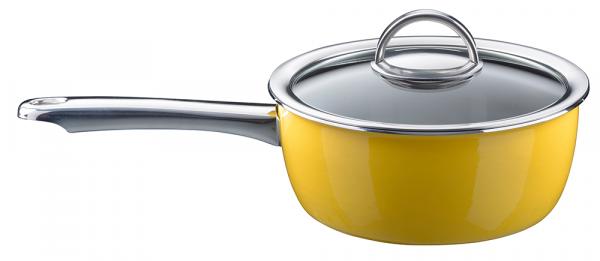 Ковш KOCHSTAR NEO эмалированный 2 л 18 см со стеклянной крышкой цвет желтый 34608618