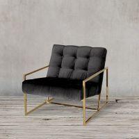 Кресло ROOMERS 70x71x81 см цвет черный, матовый золотой S0190-1D
