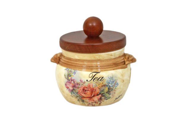 Банка для сыпучих продуктов с деревянной крышкой (чай) Элианто, LCS670PLT-EL-AL