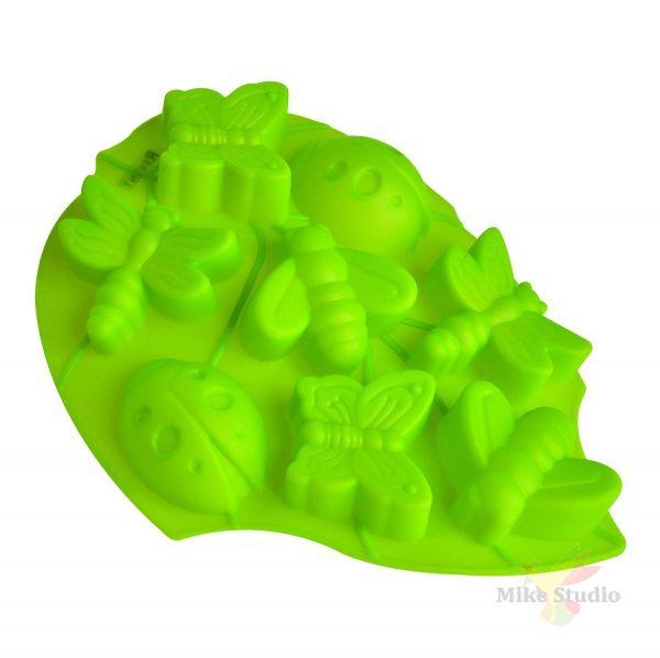Форма для выпечки 'Лист'(зеленый) 8 ячеек Linea Silicone 28х22х3 см Regent Inox 93-SI-FO-105