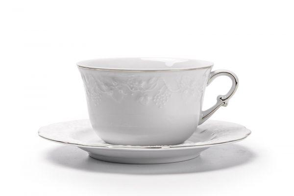 Чашка для завтрака с блюдцем 340 мл, La Rose des Sables, серия VENDANGE Filet Platine, 693534 0019