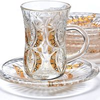 Чайный набор 12 предметов из стекла, золото LORAINE, 27091
