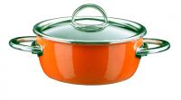Кастрюля эмалированная, низкая, 2,0 л, диам. 18 см, выс. 8,9 см, цвет оранжевый, со стеклянной крышкой, серия NEO, KOCHSTAR