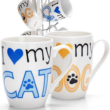Набор кружек Loraine 350 мл «I love dog, cat» на металлической подставке 26521