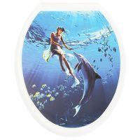 """Сиденье с крышкой для унитаза ДЕКОР """"Девушка с дельфином"""" (РП-813ДД)"""