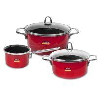 Набор посуды KOCHSTAR из 3-х предметов, цвет красный Metallica SOLID, RED-1