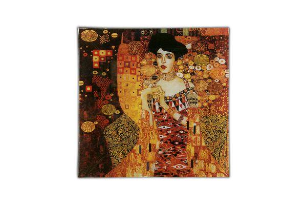 Тарелка квадратная Золотая Адель (Г.Климт), CAR198-1402-AL