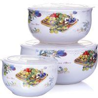 Набор салатников 6 предметов с крышкой 330-600-900 мл LORAINE, 28152