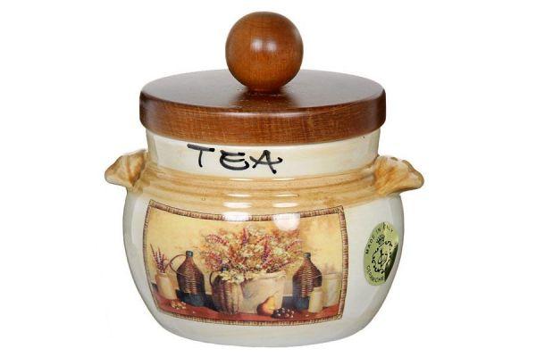 Банка для чая с деревянной крышкой Натюрморт, LCS670PLTV-AL