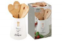 Банка-подставка с кухонными инструментами (5 инструментов из бамбука) Kitchen Elements в подарочной упаковке, EL-R1911_KITE