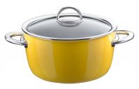 Кастрюля эмалированная высокая, объем 4,8 л, диаметр 22 см, высота 13,6 см, цвет желтый, со стеклянной крышкой, серия NEO, KOCHSTAR