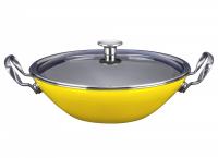 ВОК эмалированный 30 см KOCHSTAR NEO со стеклянной крышкой, желтый