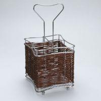Подставка для столовых приборов хромированный металл и плетеный бамбук Mayer&Boch, 8636