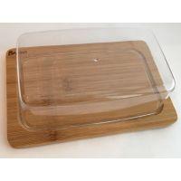 BR-371 Масленка/Сырница 19,5*13*5см, бамбук, пластик BRAVO