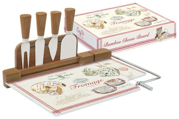 Набор для сыра: разделочная доска (стекло) + 4 ножа FROMAGE в подарочной упаковке, EL-0810_FRMA