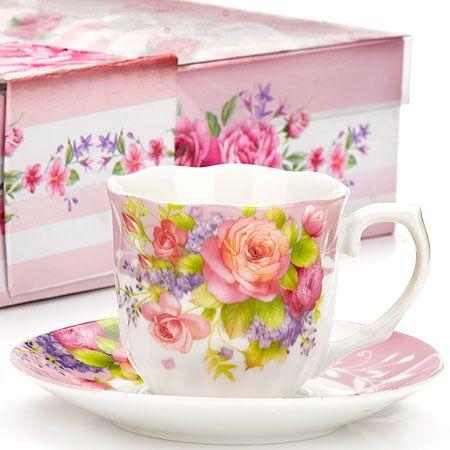 Кофейный набор Loraine чашка с блюдцем цвет белый, розовый, сиреневый 25960