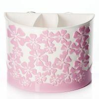 "Подставка для зубных щеток ""Камелия"", цвет белый с розовым"