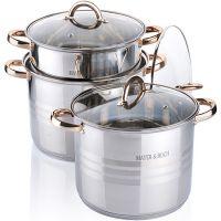 Набор посуды 6 предметов 8,6+10,6+12,9л с крышкой, Mayer&Boch, 26701