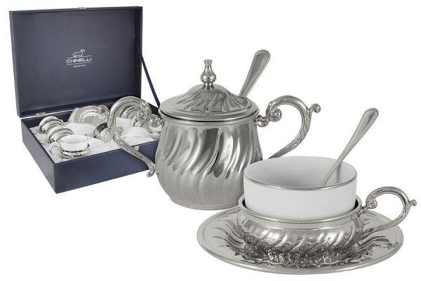 Чайный набор на 6 персон Stradivari с отделкой под серебро в подарочной коробке, GA2207500AL
