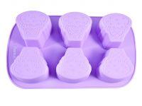 Форма для выпечки 6 кексов РОЖОК МОРОЖЕНОГО 26,2*16,5*3,5 см, цвет ЛИЛОВЫЙ из силикона FISSMAN, 6540