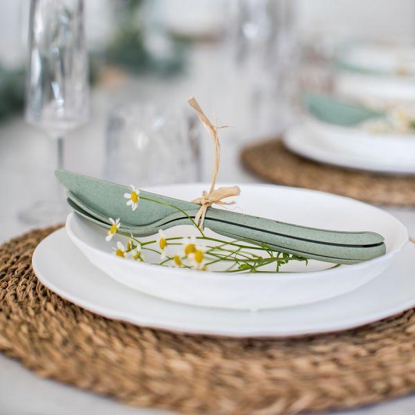 Набор из 3 столовых приборов KLIKK Organic, зелёный 4003668