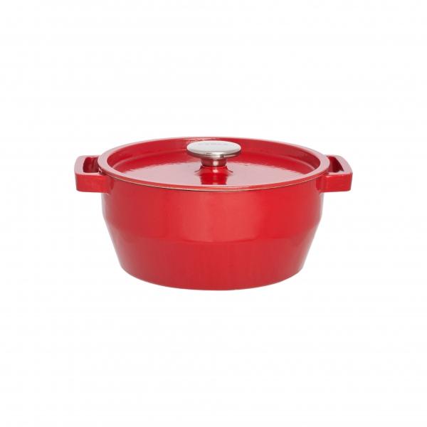 Кастрюля круглая 24 см красная 3,6л