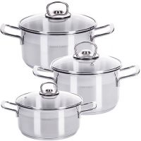 Набор посуды из 6 предметов со стеклянной крышкой 2+2,5+3 л Mayer&Boch, 80008