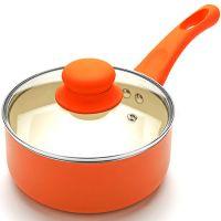 Ковш оранжевого цвета 16 см, 1,5 л покрытие из керамики, с крышкой и с ручкой из силикона, Mayer&Boch, 21959N2