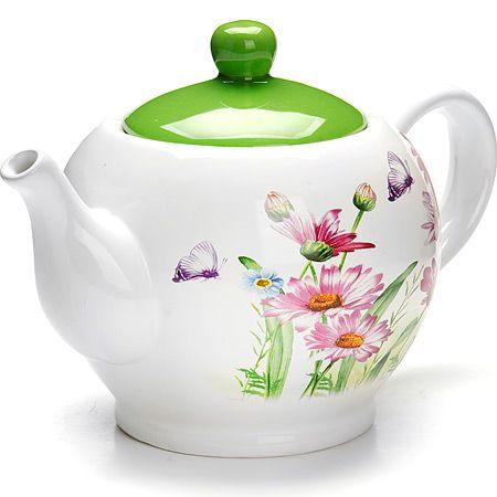 Заварочный чайник Loraine «Цветы» 950 мл со стеклянной крышкой 26241