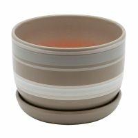 Керамический горшок с подставкой, 1,65л, серый с белыми полосками