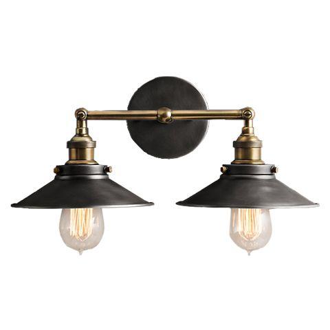 Светильник RESTORATION HARDWARE «Скон Дабл» 16x23x38 см цвет золотой с черной отделкой DTL9105