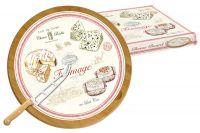 Блюдо для сыра (вращающееся) бамбук/стекло + нож FROMAGE в подарочной упаковке, EL-0888_FRMA